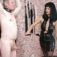 In the Mistress's chamber. Special equipment makes the slave's punishment much more enjoyable
