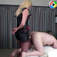 Mistress fucks her bitch boy