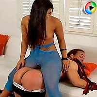 Male slave licks domina's ass and toes