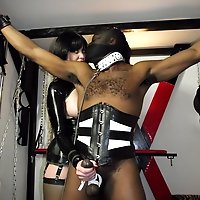 FemDom Helga punishes her hunky black stud and gets her gorgeous pussy licked.