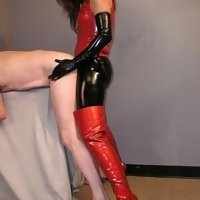 Strapon domina using her slave
