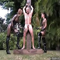 Goddess Brianna and Jade Tiger have no mercy for their male slaves