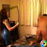 Brunette in blue evening gown slaps and whips unlucky stranger