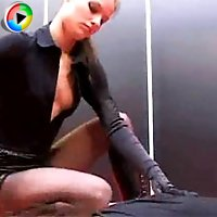 Slave gets abused by his naughty mistress