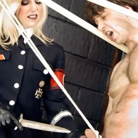 A uniformed Mistress Sidonia takes charge of her prey.